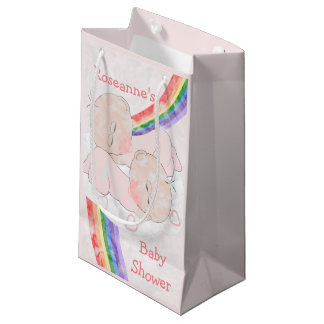Twin Girls Baby Shower Small Gift Bag
