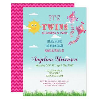 Twin Girls Baby Shower Sun Kite Spring Summer Sun Card
