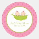 Twin Girls Baby Shower, Two Peas in a Pod Round Sticker