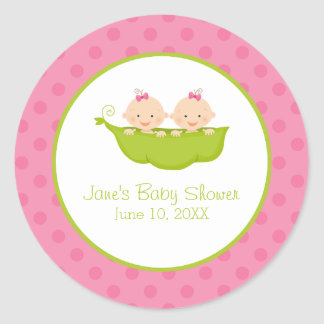 Twin Girls Baby Shower, Two Peas in a Pod Round Sticker