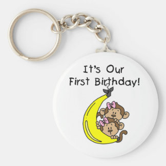 Twin Girls Banana Monkey 1st Birthday Key Chains