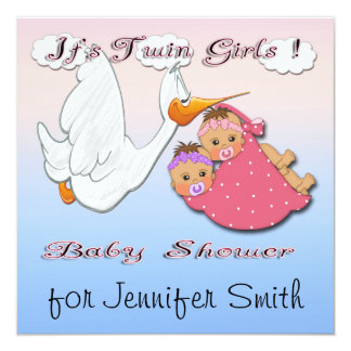 Twin Girls BH - Stork Baby Shower Invitations
