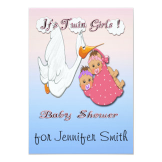 Twin Girls BH - Stork Baby Shower Invitations