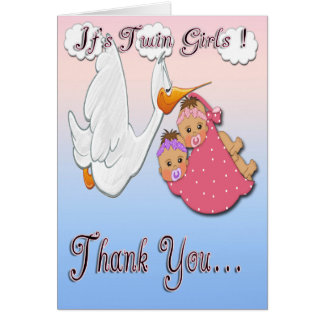 Twin Girls BH - Stork Baby Shower Thank You card