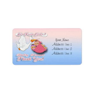 Twin Girls BH - Stork Baby Shower Thank you labels
