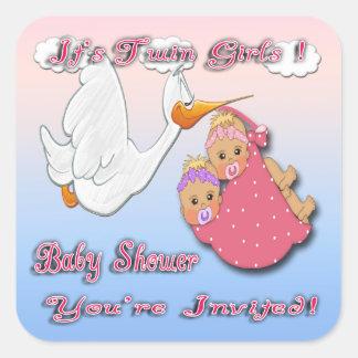 Twin Girls Blonde Stork Baby Shower envelope seal Sticker