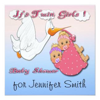 Twin Girls Blonde - Stork Baby Shower Invitations