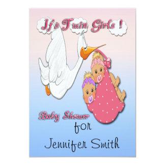 "Twin Girls Blonde - Stork Baby Shower Invitations 5"" X 7"" Invitation Card"
