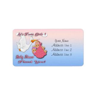 Twin Girls Blonde Stork Baby Shower Thank you labe Address Label