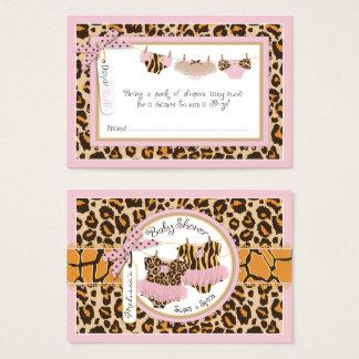 Twin Girls Cheetah Print Tutu Diaper Raffle Ticket