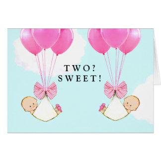 Twin Girls Congrats Card