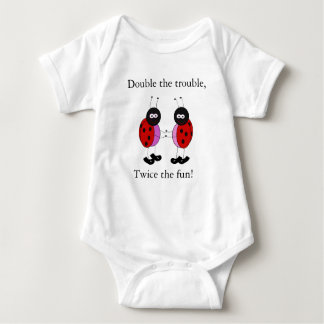 Twin girls double the trouble ladybugs baby bodysuit