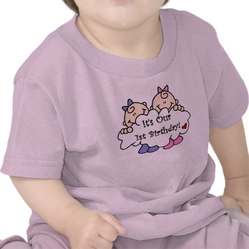 Twin Girls First Birthday Tee Shirts