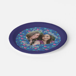 Twin Girls Happy Hearts Birthday Party Custom Paper Plate
