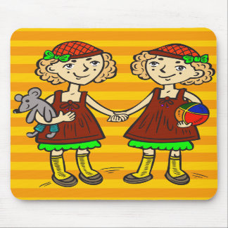 Twin Girls Mouse Pads