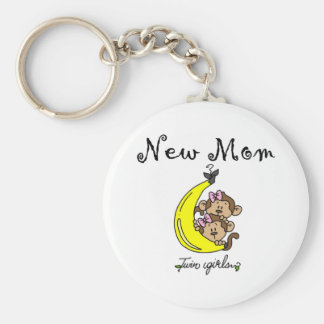 Twin Girls New Mom T-shirts and Gifts Basic Round Button Key Ring
