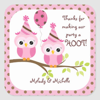 Twin Girls Owl Birthday Thank You Square Sticker