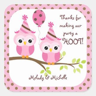 Twin Girls Owl Birthday Thank You Stickers