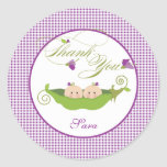 Twin Girls Pea in a Pod Baby Shower Favour Sticker