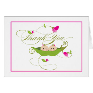 Twin Girls Pea in a Pod  |  Thank You Card