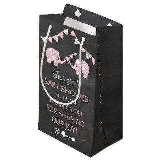 Twin Girls Pink Elephants Baby Shower Thank You Small Gift Bag