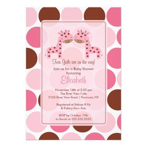 twin girls pink giraffe baby shower invitation zazzle