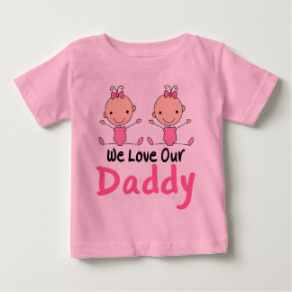 Twin Girls Pink Stick Figure Babies Baby T-Shirt