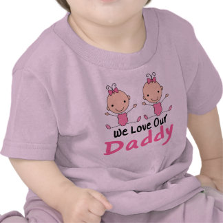 Twin Girls Pink Stick Figure Babies T Shirt