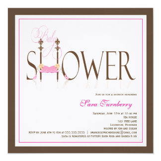 Twin Girls Sleeping Babies Baby Shower Invitation