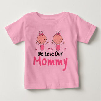 Twin Girls Stick Figure Babies Baby T-Shirt