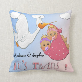 Twin Girls - Stork Keepsake Pillow