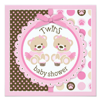 "Twin Girls Teddy Bears Tutus Baby Shower 5.25"" Square Invitation Card"