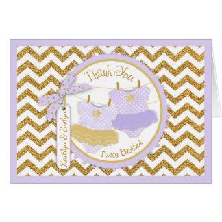 Twin Girls Tutu Gold Glitter Chevron Thank You Card
