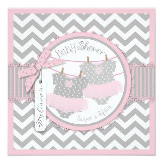 Twin Girls Tutus Chevron Print Baby Shower 13 Cm X 13 Cm Square Invitation Card