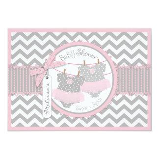 Twin Girls Tutus Chevron Print Baby Shower 13 Cm X 18 Cm Invitation Card