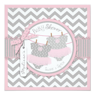 Twin Girls Tutus Chevron Print Baby Shower Personalized Invitation Card