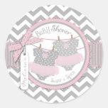Twin Girls Tutus Chevron Print Baby Shower Round Stickers