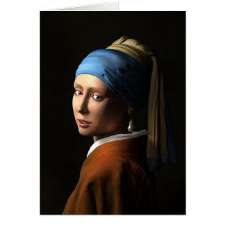 TWIN GIRLS WITH A PEARL EARRING - 3D Computer ART Card