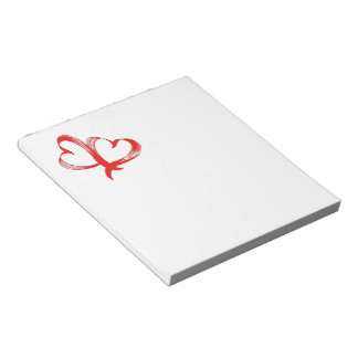 Twin Hearts Valentine on White Notepad