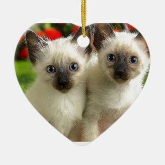 Twin Kittens Ceramic Heart Decoration