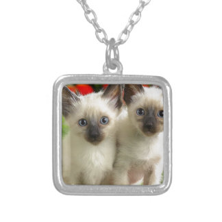 Twin Kittens Silver Plated Necklace
