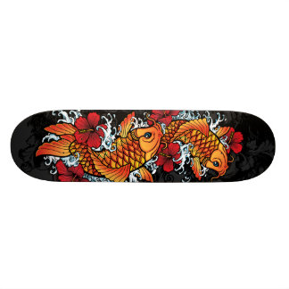 Twin koi skateboard deck