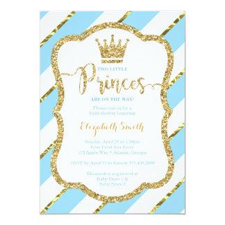 Twin Little Princes Shower Invite, Faux Glitter Card
