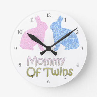 Twin Mommy Round Clock