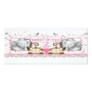 Twin Monkeys & Ice Cream Sundae Thank You 10 Cm X 24 Cm Invitation Card