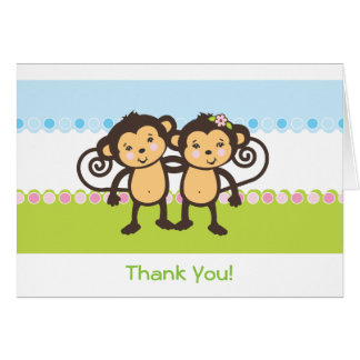 Twin Monkeys Thank You Card