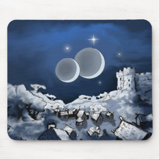 Twin Moons Fantasy Mouse Pad