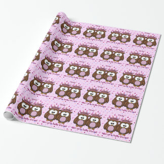 twin owl princesses wrapping paper