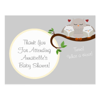 Twin Owls Baby Shower Thank You Postcard