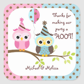Twin Owls Birthday Thank You Square Sticker